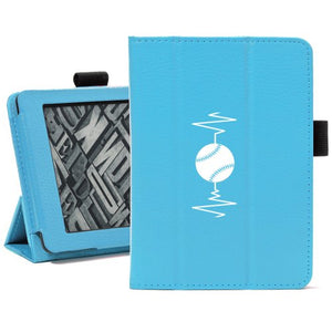 Light Blue For Amazon Kindle Paperwhite Leather Magnetic Case Cover Stand Heart Beats Softball Baseball
