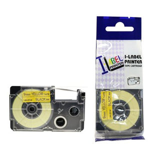 LM Tapes Compatible LM9YW 3/8 in Black on Yellow Tape Cassette, 1/Pack