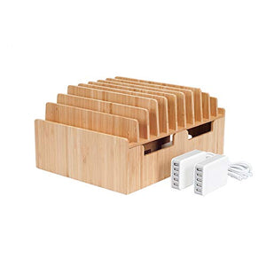 MobileVision 10-Port Bamboo Charging Station Includes 2 Powermod 5 USB Port Chargers for Smartphones & Tablets