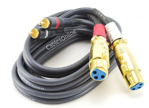 CablesOnline 6ft. Dual XLR 3C Female to (2) RCA Male Stereo Audio Cable (XR-A106)