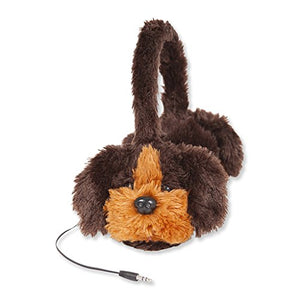 ReTrak Retractable Animalz Tangle-Free, Volume Limiting (85 dB) Over Ear Headphones for Kids, Brown Dog (ETAUDFDOG)