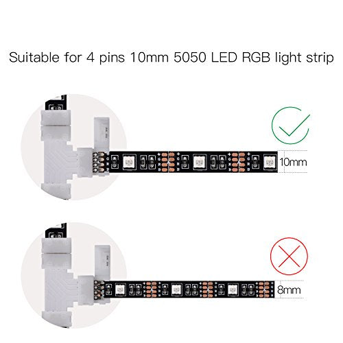 T Shape 4 Pins Connector 10-pack JACKYLED 10mm Solderless Connector 12V 72W Clips for 5050 3528 SMD RGB Fireproof Material LED Strip Lights Connectors (32Pcs clips)