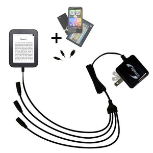 Compact Tabletop Multi-port wall charger bundled with flip out prongs for the Barnes and Noble nook Original eBook eReader - Clean design charges up to four devices at once and upgradeable using Gomad