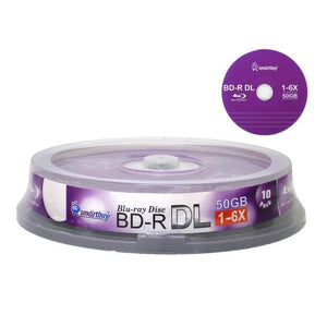 Smartbuy 10-disc 50gb 6X Blu-ray Bd-r Dl Dual Layer Double Layer Logo Top Surface Blank Data Video Recordable Media Disc with Cakebox/Spindle Packing