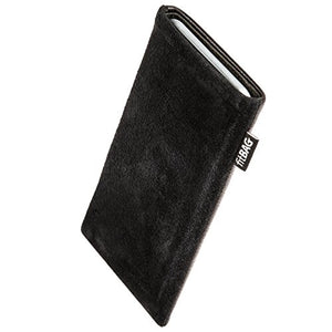 fitBAG Fusion Black/Black Custom Tailored Sleeve for HTC One E9. Nappa/Suede Leather Mix Pouch with Integrated Microfibre Lining for Display Cleaning