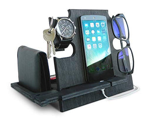 Wooden Docking Station for Men, Smartphone Stand, Idea - Nightstand Holder for Him, Desk Organizer Ebony