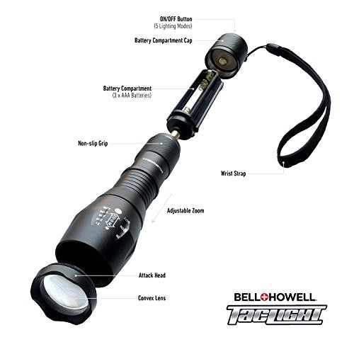 Bell + Howell 1176 Taclight High Powered Tactical Flashlight With 5 Modes & Zoom Function,Black