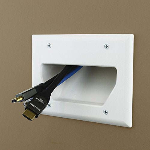 DataComm Electronics 45-0003-WH 3-Gang Recessed Low Voltage Cable Plate - White