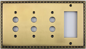 Egg & Dart Antique Brass 4 Gang Combo Switch Plate - 3 Push Button Light Switches 1 GFI Outlet/Rocker Switch