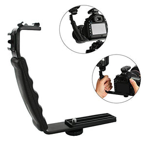 Yosoo Adjustable Photography Camcorder Video Light Flash Camera L-Bracket with Dual Standard Hot Shoe Mount
