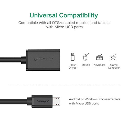 UGREEN Micro USB to USB, Micro USB 2.0 OTG Cable 2 Pack On The Go Adapter Micro USB Male to USB Female for Samsung S7 S6 Edge S4 S3, LG G4, DJI Spark Mavic Remote Controller, Android Tablets (Black)