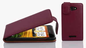Cadorabo Case Works with HTC Butterfly in Pastel Purple - Flip Style Case Made of Structured Faux Leather - Wallet Etui Cover Pouch PU Leather Flip