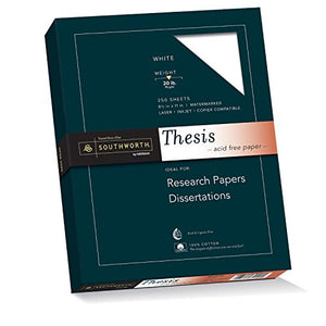 Southworth 100% Cotton Thesis Paper, 8.5� X 11�, 20 Lb/75 Gsm, Wove Finish, White, 250 Sheets
