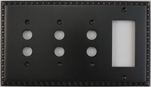 Egg & Dart Oil Rubbed Bronze 4 Gang Combo Switch Plate - 3 Push Button Light Switches 1 GFI Outlet/Rocker Switch
