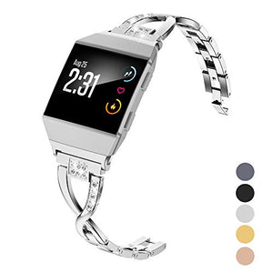 Wearlizer Silver Bling Band Compatible with Fitbit Ionic Bands Women, Metal Bling Replacement Band Bracelet with Diamond Rhinestones X-Link Compatible Fitbit Ionic Small Large Silver