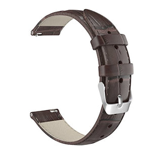 MoKo 22mm Quick Release Universal Watch Band, Leather Crocodile Pattern Strap for 22mm Sport Strap, Brown