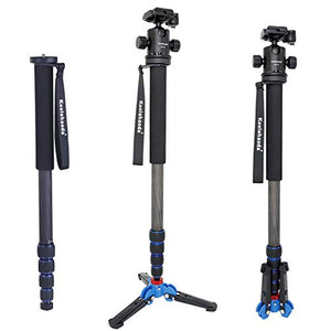 koolehaoda Pro Camera Carbon Fiber Monopod with Three Foot Support Base Ballhead for DSLR Camera Canon Nikon. Extended Max Height: 69.7-inch.