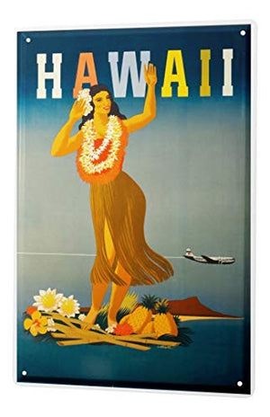 LEotiE SINCE 2004 Tin Sign Metal Plate Decorative Sign Home Decor Plaques World Trip Hawaii Woman Garland Aircraft Decorative Wall Plate 8X12
