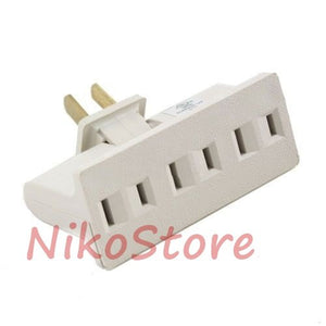 2 Prong 3 Outlet Grounded AC Power Swivel Light Wall Tap Adapter Beige