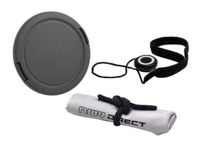 Lens Cap Side Pinch (77mm) + Lens Cap Holder + Nwv Direct Microfiber Cleaning Cloth For Canon EOS M3