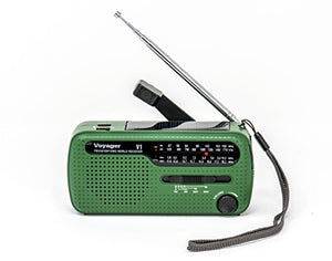 Kaito V1 Voyager Solar/Dynamo AM/FM/SW Emergency Radio with Cell Phone Charger and 3-LED Flashlight, Green