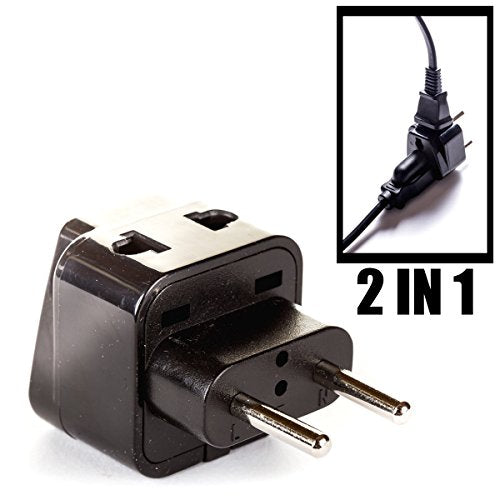 OREI Europe Power Plug Adapter Works in Russia, Turkey, Ethiopia, Korea, Monaco and More   (Type C) - 4 Pack, Black