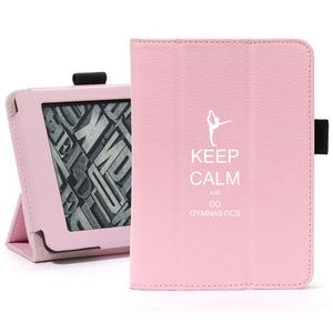 Pink For Amazon Kindle Paperwhite Leather Magnetic Case Cover Stand Keep Calm and Do Gymnastics