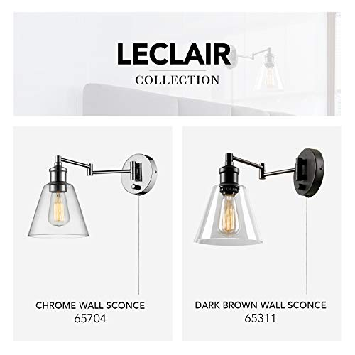 Globe Electric 65704 LeClair 1-Light Plug-In or Hardwire Industrial Wall Sconce, Chrome Finish, On/Off Rotary Switch, 6ft Clear Cord, Clear Glass Shade