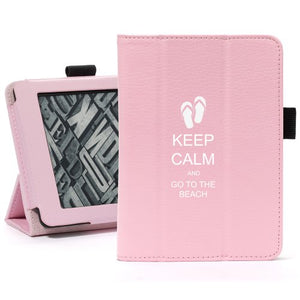 Pink For Amazon Kindle Paperwhite Leather Magnetic Case Cover Stand Keep Calm and Go to the Beach Sandals