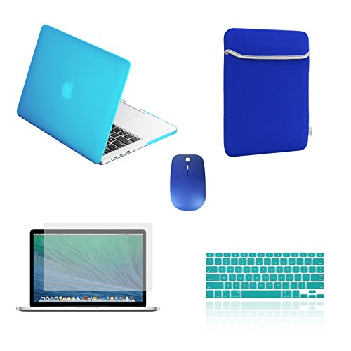 "TOP CASE - 5 in 1 Omni Bundle -Rubberized Hard Case + Sleeve Bag + Keyboard Cover + Screen Protector + Mouse Compatible MacBook Pro 13"" Retina Display (Release 2012-2015) A1425 / A1502 - Aqua Blue"