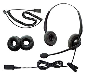 DailyHeadset RJ9 NC Duo Office Phone Corded Headset for Analog Office Landline Phone Aastra Avaya Nortel Polycom Mitel ShoreTel Digium AltiGen NEC TalkSwitch Telephones
