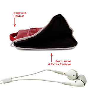 Double Padded 7inch Nook HD Glossy Red Hydei Vertical Messenger Bag + Sound Clarity Earbuds