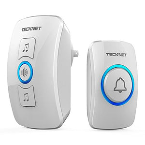 Wireless Doorbell, TeckNet Wireless Door Bell Chime Kit with LED Light, 1 Receiver and 1 Push Button, Operating at 1000-feet Range with 32 Chimes
