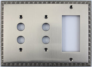 Egg & Dart Satin Nickel 3 Gang Combo Wall Plate - 2 Push Button Light Switches 1 GFI Outlet/Rocker Switch