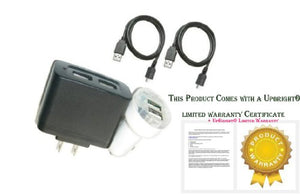 UPBRIGHT New Car+Wall Charger+2X USB Cord for Motorola T-Mobile Sidekick Slide Simple GSM Q700 Cell Phone