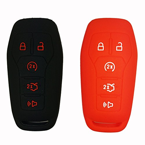 Coolbestda 2 Pcs Silicone Key Fob Cover Case Protector Remote Skin Holder For Ford F 150 Fusion Musta