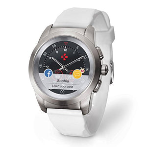 MyKronoz ZeTime Petite Original Hybrid Smartwatch 39mm with Mechanical Hands Over a Color Touch Screen, Swiss Design, iOS and Android  Brushed Silver/White Silicon Flat
