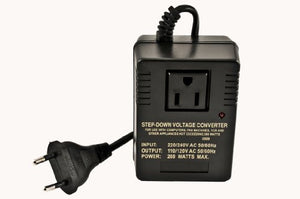 VCT VM 200 Deluxe Step Down Voltage Converter for Travel to 220V / 240V Countries - 200Watts
