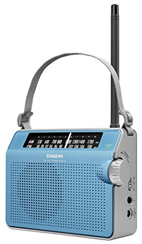 Sangean Compact Portable AM/FM Radio with Built-in Speaker, Earphone Jack, LED Tuning Indicator & Carry Strap