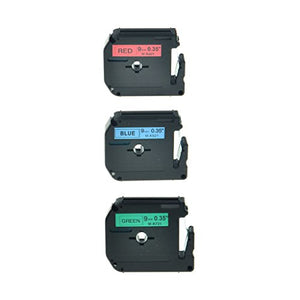 NineLeaf 3PK Black on Red MK421 Black on Blue MK521 Black on Green MK721 9mm 8m Label Tape Compatible for Brother M-K421 M421 M-K521 M521 M-K721 M721 P-Touch PT-70 PT-65 PT-80 Printer