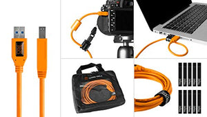Starter Tethering Kit w/TetherPro USB 3.0 to USB Male B Cable, 15' (4.6m), High-Visibility Orange
