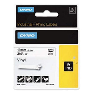 DYMO 18445 Rhino Permanent Vinyl Industrial Label Tape, 3/4-Inch x 18 ft, White/Black Print