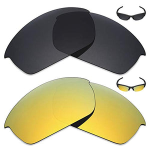 Mryok 2 Pair Polarized Replacement Lenses for Oakley Flak Jacket Sunglass - Options
