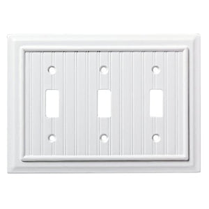 W17998-PW Pure White Beadboard Triple Switch Wall Cover Plate