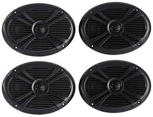 (4) Rockville RMSTS69B 6x9 2000w Waterproof Marine Boat Speakers 2-Way Black