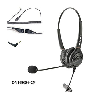 OvisLink Dual Ear 2.5mm Call Center Headset for Cisco SPA Series, Polycom SoundPoint IP 321/331 and Pro SE-220/225