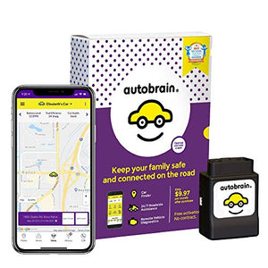 autobrain OBD Real-Time GPS Tracker for Vehicles | Auto Health Diagnostics | Parking Locator & Car Finder Tracker | Teen & Senior Driver Monitoring | 24/7 Emergency Assistance (1 Month of Service)