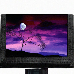 Scenic Moon Tree Black TriFold Nylon Wallet Great Gift Idea