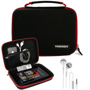 VanGoddy Harlin Red Black Hard Shell Carrying Case for Acer Iconia One 7 / Tab 8 / Tab 8 W/One 8 + Ear Buds with Mic