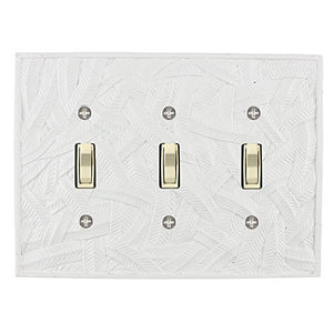 Meriville Island 3 Toggle Wallplate, Triple Switch Electrical Cover Plate, Off White